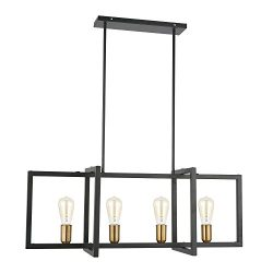 Light Society Paradigm 4-Light Kitchen Island Pendant, Matte Black with Antique Brass Finish, Ge ...