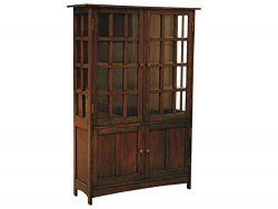 Crafters and Weavers Arts and Crafts Mission Solid Oak China Cabinet