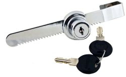 FJM Security 0220-KA Sliding Door Ratchet Lock with Chrome Finish, Keyed Alike