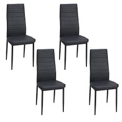Water-chestnut Kitchen Dining 4 Leather Chairs (Set of 4, Black)