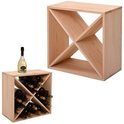 JAXPETY 24 Bottle Wine Rack Holder Compact Cellar Cube Bar Storage Kitchen Decor Wood Display Ho ...