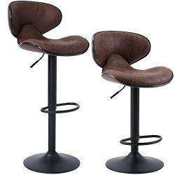 SUPERJARE Bar Stools with Back, Adjustable Swivel Barstool Chairs, Set of 2, Brown