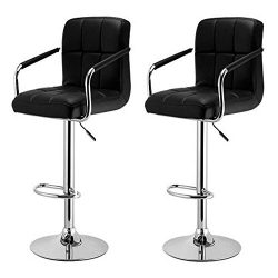 Yaheetech Bar Stools Set of 2 Black Adjustable Counter Stools Bar Chairs Synthetic Leather Moder ...