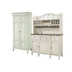 Home Square 2 Piece Dining Room Set with Tall Cabinet & Buffet with Bar Hutch in Cotton