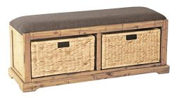 OSP Designs Office Star Sheridan Wood Storage Bench with Distressted Toffee Uphostered Seat and  ...