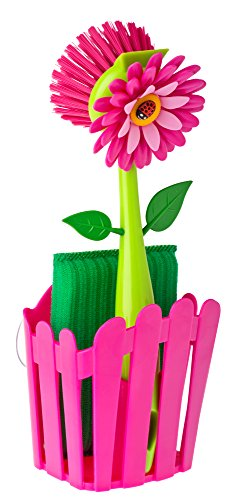 Vigar Flower Power Pink Sink Side Set With Suction Pad, 9-3/4-Inches, Pink, Green
