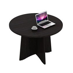 """Sunon 47.2"""" Laminate Round Conference Table Dining Table with X-Shaped Wood Base (Dark Oak)"""
