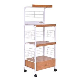 Trolley Cart Shelf Rack Storage Shelves Bakers Kitchen Microwave Stand 62″