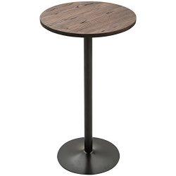 HOMCOM 42″H Rustic Industrial Bar Table Pub Table Elm Wood Top with Metal Base