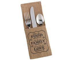 Lillian Rose FA560 FF Food & Family Rustic Burlap Silverware Holders, Multicolor