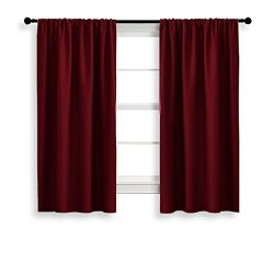 NICETOWN Burgundy Curtains Blackout Drape Panels – Lights Block Out Window Treatment Curta ...