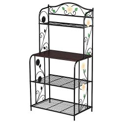 Yaheetech Indoor Outdoor 4-Tier Shelving Unit Bakers Racks Storage Organizer Metal Corner Plante ...