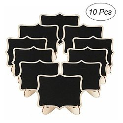 ULTNICE 10pcs Mini Chalkboard Wooden Blackboard Sign with Easel Wedding Place Card Name Message  ...