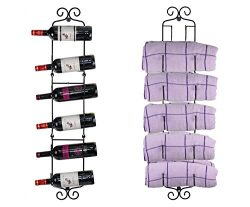 ESYLIFE Wall Mounted Wine Towel Rack – Cascading Design for Holding 2-6 Bottles/Towels