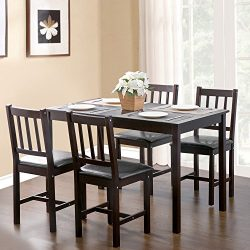 Merax. 5-piece Cream Dining Kitchen Dining Table with 4 Dining Chairs Dinette Table (Espresso)