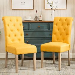 Roundhill Furniture C161YL Habit Solid Wood Tufted Parsons Dining Chair, Set of 2, Yellow