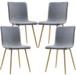 Poly and Bark Wadsworth Dining Chair with Natural Legs in Gray (Set of 4)