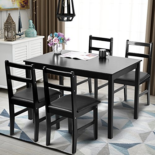 Modern 5pc Dining Table Set Kitchen Dinette Chairs: Merax 5pc Dinning Set Kitchen Dining Table With 4 Chairs