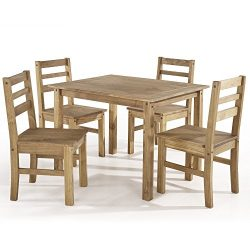 Manhattan Comfort Maiden Collection Reclaimed Traditional Modern 5 Piece Pine Wood Dining Set, 4 ...