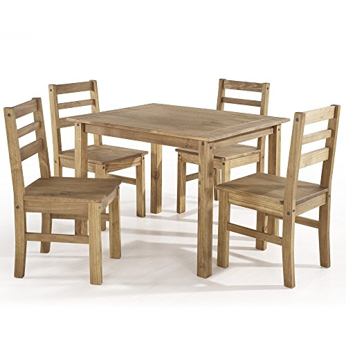 5 Piece Pine Wood Dining Table And Chairs Dining Table Set: Manhattan Comfort Maiden Collection Reclaimed Traditional
