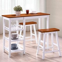 Harper&Bright Designs Tampa Series Dining Room 3-Piece Table Stool Set Counter Height with S ...