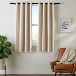 AmazonBasics Room-Darkening Blackout Curtain Set with Grommets – 52″ x 63″, Beige