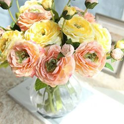 Boofab Artificial Silk Fake Flowers Small Daisy Rose Bouquets Silk Arrangements Bridal Home DIY  ...