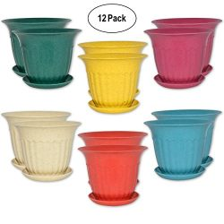 12 Round Garden Flower Pots Decorative 4″ Seed Starting Planters with Saucers Biodegradabl ...