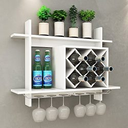 Giantex Wall Mounted Wine Rack Organizer W/Metal Glass Holder & Multifunctional Storage Shel ...
