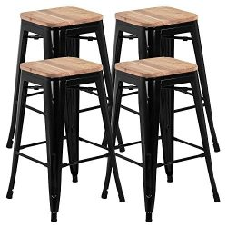 Yaheetech 26 inches Metal Bar Stools Set of 4, Indoor Outdoor Counter Stackable Bartool Industri ...