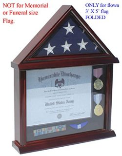 3 ft x 5 ft Flag Display Case with Certificate and Document Holder FC11 (Mahogany)