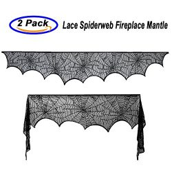 Halloween Decoration -Black Lace Spiderweb Fireplace Mantle Scarf Cover for Festive Party and Ha ...