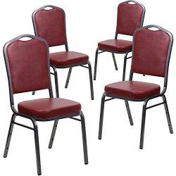 Flash Furniture 4 Pk. HERCULES Series Crown Back Stacking Banquet Chair in Burgundy Vinyl – ...