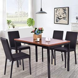 Tangkula Dining Table Set 5 Piece Home Kitchen Dining Room Tempered Glass Top Table and Chairs B ...