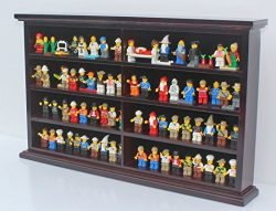 Kid-Safe Minifigures Miniature Action Figures Display Case Wall Cabinet Stand, Solid Wood (Mahogany)