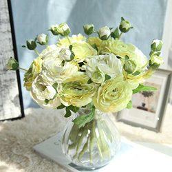 Boofab Artificial Silk Fake Flowers Small Daisy Rose Bouquets Silk Arrangements Bridal Home DIY  ...
