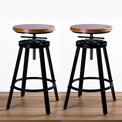 URANMOLE Bar Stools/Chairs for Bistro Pub Breakfast Kitchen Coffee, Round Wood Seat, Metal legs, ...