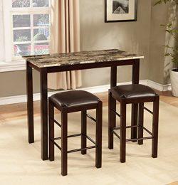 Roundhill Furniture Brando 3-Piece Counter Height Breakfast Set, Espresso Finish
