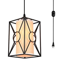 HMVPL Swag Pendant Lights with Plug in Cord and On/Off Dimmer Switch, New Transitional Hanging C ...