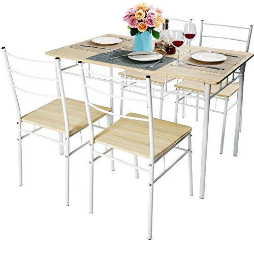 Harper&Bright Designs 5 Pcs Wood And Metal Dining Set