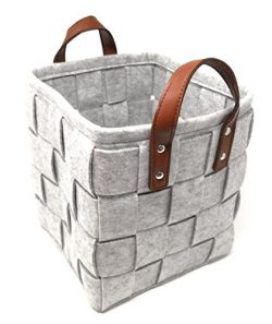 ECOHIP 2-Pack Large Felt Woven Storage Basket Decorative Cloth Bin Foldable Fabric Cube Closet O ...