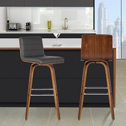 Armen Living LCVIBAGRWA30 Vienna 30″ Bar Height Barstool in Grey Faux Leather and Walnut W ...