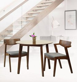 Rattan Wicker Furniture Set of 3 Dining Kitchen Round Table and 2 Tracy Armchairs Solid Wood w/P ...