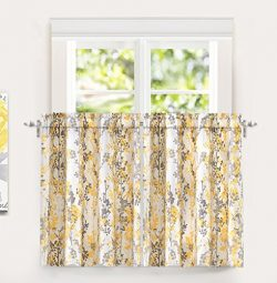 DriftAway Leah Abstract Floral Blossom Ink Painting Room Darkening Kitchen Tier Window Treatment ...