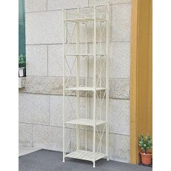 Narrow 5-tier Iron Stylish And Functional Folding Bakers Rack