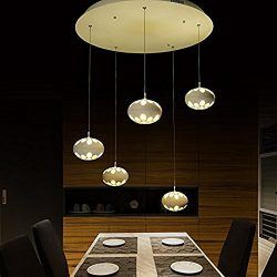 Upgrade LED Pendant Ceiling Light with 5 Linear Suspension Kitchen Island Chandeliers Lighting ( ...