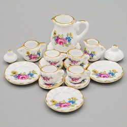 Odoria 1:12 Miniature 15PCS Porcelain Tea Cup Set Pink Rose Chintz and Golden Trim Dollhouse Kit ...