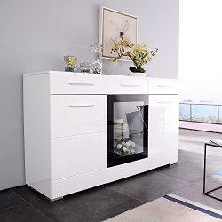 Mecor LED Light Adjustable Color Sideboard Buffet Storage White Kitchen Dining Room Furniture (3 ...