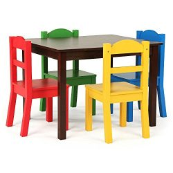 Tot Tutors TC437 Discover Collection Kids Wood Table & 4 Chair Set, Red/Blue/Green/Yellow