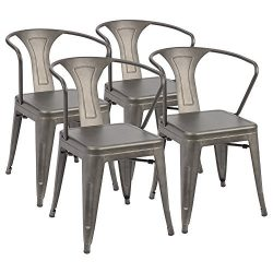 Furmax Metal Chairs with Arms Gun Metal Indoor/Outdoor Use Stackable Chic Dining Bistro Cafe Cha ...
